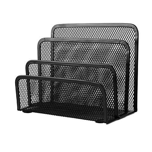 Metal Mesh Desktop Collection Sorter 3 Upright Section File Holder Cards Storage Rack Letter tray