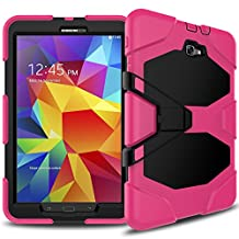 Samsung Galaxy Tab A 10.1 (No S Pen) Case (T580) Heavy Duty Shockproof Rugged Armor Hybrid Impact Resistant Defender Full Body Protective with Built-in Screen Protector and Kickstand (Rose)
