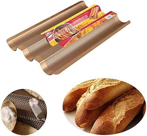 3-Slot Non-Stick Baguette Baking Tray Loaf Mold French Bread Pan Bake Tools Baguette Frame Rack Baking Tools