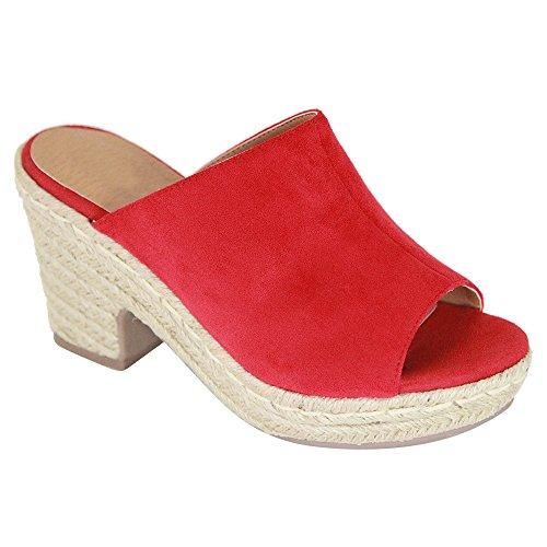 Chunky Heel Slide - Women's Slip on Slides Platform Chunky Block Heel Sandals Open Toe Mules Summer Slipper Shoes DK01 Red 9