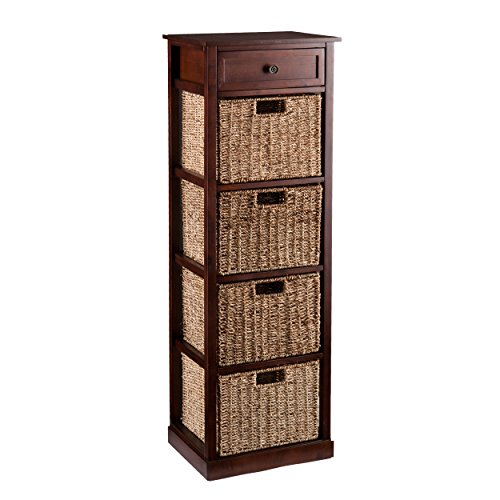 Southern Enterprises AMZ5576ZH Kenton 4-Basket Storage Tower, Brown