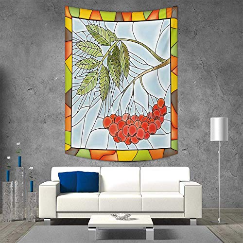 smallbeefly Christmas Home Decorations Living Room Bedroom Rowan Branch Motif on a Stained Glass Frame Noel Season Berries Winter Theme Wall Art Home Decor 54W x 84L INCH Multicolor