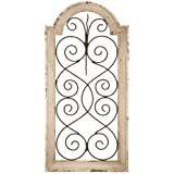 """Deco 79 Rustic Wood and Metal Arched Window Wall Decor, 20"""" H X 10"""" L, Textured Ivory White Finish"""