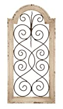 """Deco 79 Rustic Wood and Metal Arched Window Wall Decor, 10 by 20"""" Textured Ivory White Finish"""