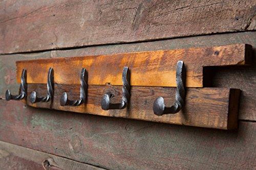 Twisted Reclaimed Railroad Spike 5 Hook Rack