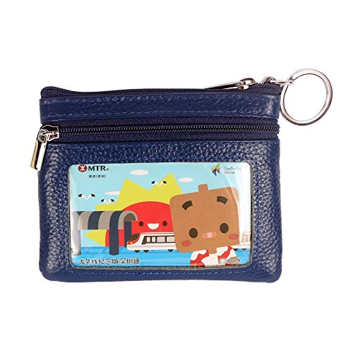 DukeTea Small Leather Zipper Change Purse Coin Wallet with Keychain Blue