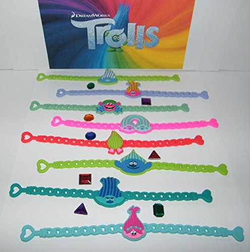 - Trolls DreamWorks Movie Bracelet Toy Figure Set of 8 with 8