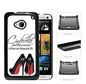 Cinderella Shoes Quote with Black High Heels Red Bottoms hard snap on phone case cover HTC One M7
