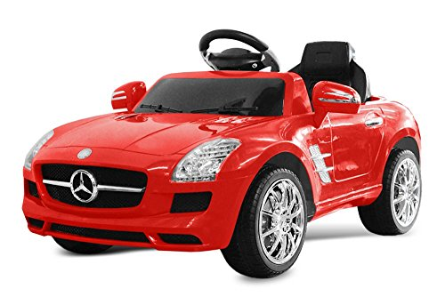 Kinder Elektro Auto Mercedes Benz SLS AMG 2x 25W 6V Elektroauto Kinderfahrzeug Ferngesteuert Elektro (Rot)