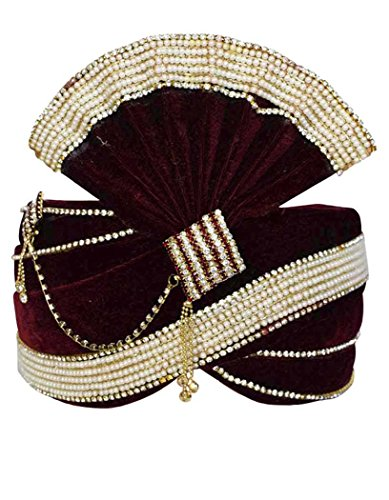 INMONARCH Mens Attrative Groom Turban Pagari Safa Groom Hats TU1090 22H-Inch Maroon by INMONARCH