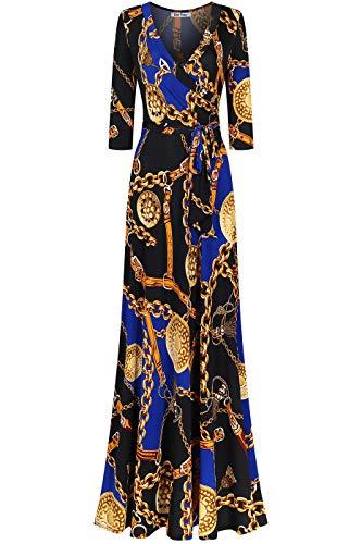 Bon Rosy Women's #MadeInUSA 3/4 Sleeve V-Neck Printed Maxi Faux Wrap Floral Dress Black Royal XL