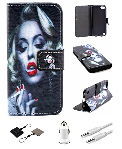 iPod Touch 5 (5th Generation) Wallet Case Castle Cas Deluxe Series Sexy Smoking Girl PU Leather Flip Cover Card Holder Kickstand (Black) (Include : Cleaner Car Charger AUX Audio) (A Cas Of A Ipod)
