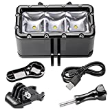 go pro extra mounts - Neewer 3 LED POV Flash Dimmable Diving Light Underwater 30m Waterproof Diving Light Mount Kit for Gopro Hero 6 5 4 Session, 4, 3+, 3, 2, 1, SJ4000/5000/6000/7000 (Battery NOT Included)