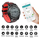Smart Watches Sunsbell Bluetooth Smart Watch for Android/Iphone, Waterproof Fitness Tracker Watch Camera Pedometer Anti-Lost Watch Altimeter Barometer (Red & Black)