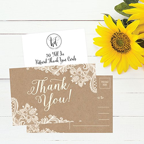50 4x6 Kraft Thank You Postcards Bulk, Cute Rustic Matte Blank Thank You Note Card Stationery Set For Wedding, Bridesmaid, Bridal Baby Shower, Teachers, Appreciation, Religious, Business, Holidays Photo #3