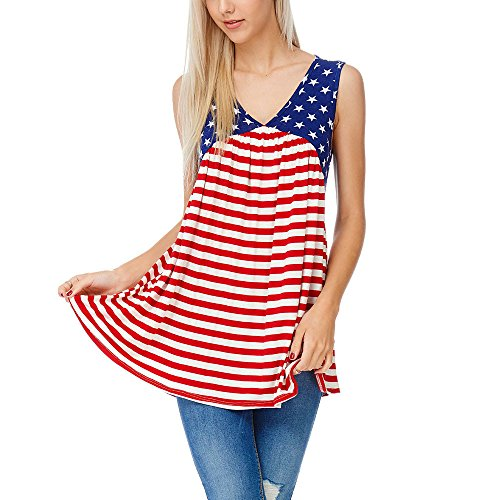 HunYUN Women's Independence Day Patriotic American Flag Striped Printed Tees July 4th Tank Top Sleeveless Shirts Vest