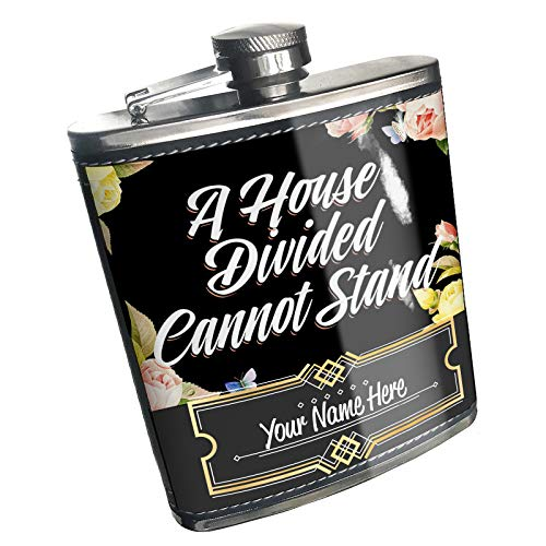 - Neonblond Flask Floral Border A House Divided Cannot Stand Custom Name Stainless Steel