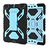 iPad 6 Air 2 Case,Y&M(TM) Pepkoo Spider Extreme Military Durable Heavy Duty Waterproof Dust/Shock Proof with stand Hang Cover Tablets Hybrid Hard Army Case For iPad Air2/ipad 6 Black/Blue