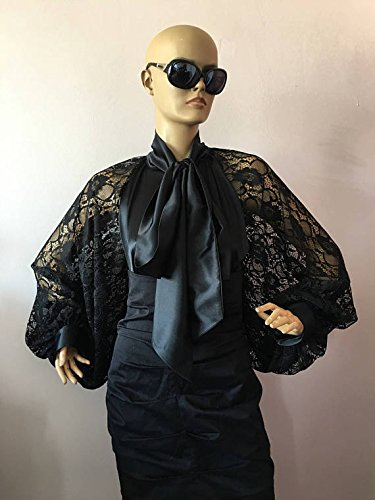 Formal Womens satin lace blouse/Black cocktail satin blouse/Bow Tie lace satin blouse,Navy blue lace satin shirt