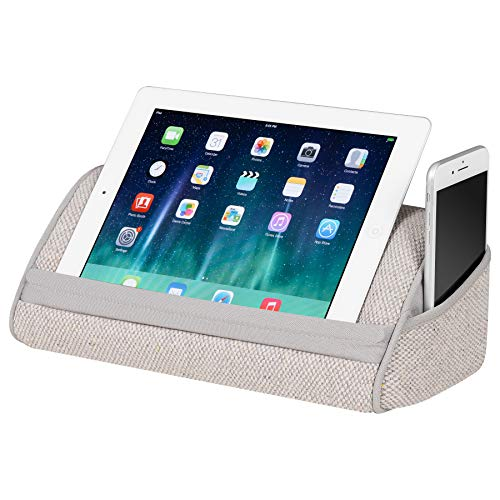 LapGear Heritage Tablet Pillow/Tablet Stand - Gray Linen (Fits up to 10.1