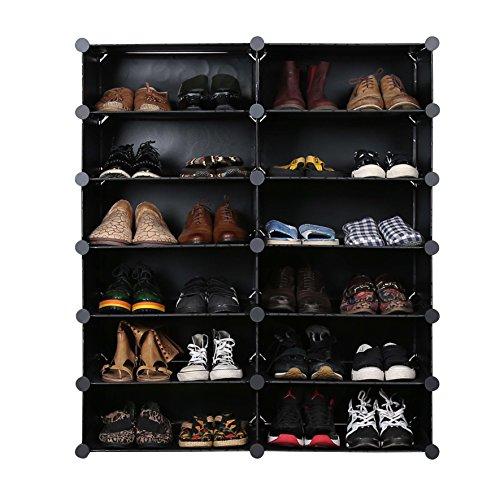 UNICOO - Multi Use DIY Plastic 12 Cube Shoe Rack,Organizer, Bookcase, Shoes Cabinet (2×6, Black with White Doors)