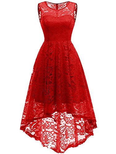 CHOiES record your inspired fashion Women's Hi-Lo Floral Lace Bridesmaid Dress Red Sleeveless Wedding Prom Party Dress M ()