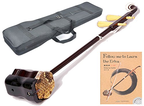 OrientalMusicSanctuary Beginner Chinese Violin - Erhu With Foam Case and Accessories AND ENGLISH INSTRUCTIONAL BOOK W/ DVD- USA Warranty by OrientalMusicSanctuary