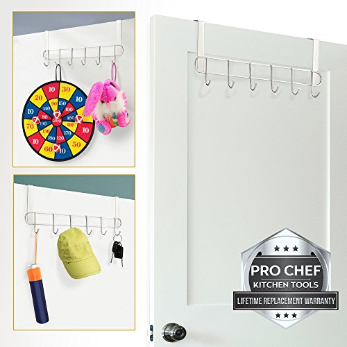 Pro Chef Kitchen Tools Over The Door Hook - General Purpose Storage Racks - 6 Coat Hooks - No Drill Towel Rack for Bathroom Storage Closet - Behind The Door Organizer Clothes Rack - Key Broom Hanger by Pro Chef Kitchen Tools (Image #1)