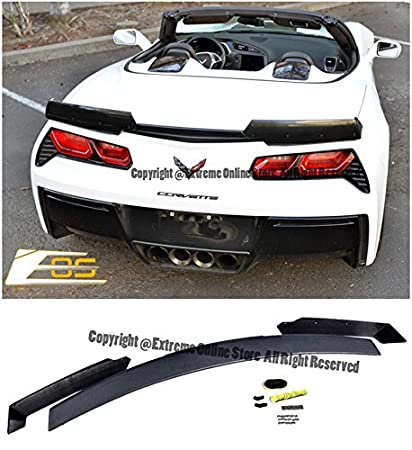 Z06u0027s Z07 Performance Stage 2 Style Rear Trunk Lid ABS Plastic 3Pcs  Unpainted Black Full Spoiler
