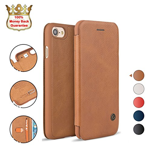 iPhone 8/7 Case Shockproof, G-CASE [Business] Ultra Slim Folio Flip Leather Wallet Case with Card Slot for Cash/Nano SIM Card/Ejector Pin Protective Cover for iPhone 8/7 4.7 inch-Brown(2017)