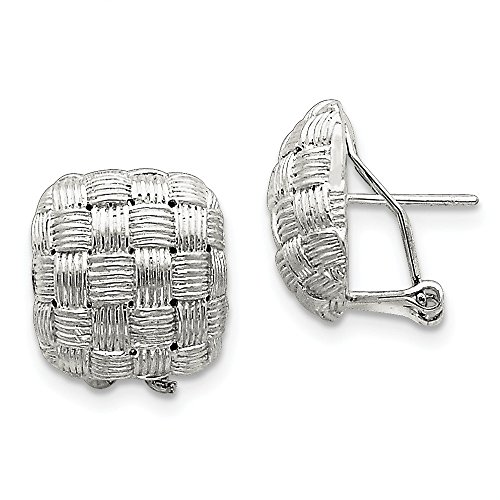 Sterling Silver Square Fancy Omega Back Earrings by Jewels By Lux