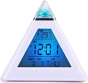 F.G. MINGSHA Pyramid 7 Color Backlight Alarm Clock Digital Clock Modern Decorative Electronic Desk Clock Display Time Date Temperature for Home Office Bedroom