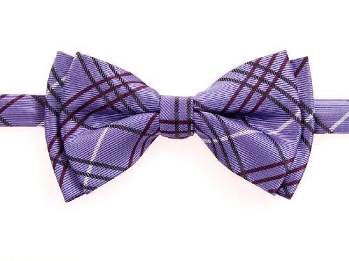 Retreez Tartan Plaid Styles Woven Microfiber Pre-tied Boy's Bow Tie - Purple - 24 months - 4 years
