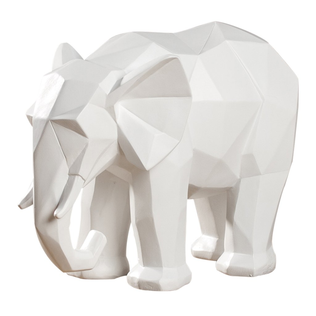 INTER FAST Origami Géométrique Créatif Résine Éléphant Animal Décoration TV Cabinet Décoration de Bureau Noir Blanc 25 X 14 X 20 cm (Color : White)