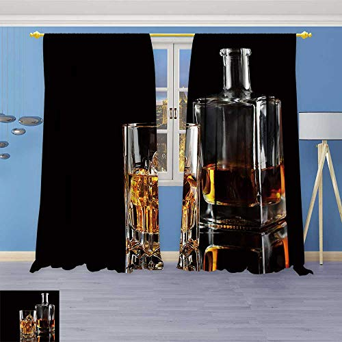(SOCOMIMI Thermal Insulated Grommet Unlined Window Curtains wkey with ice and a Square Decanter Isolated on a Black Background Set of Two Panels 96W x 84L inch)