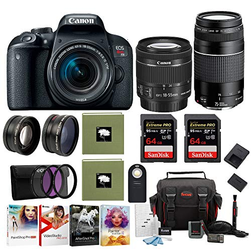 Canon EOS Rebel T7i DSLR Camera with 18-55mm and Canon 75-300mm Lens + Pro Kit