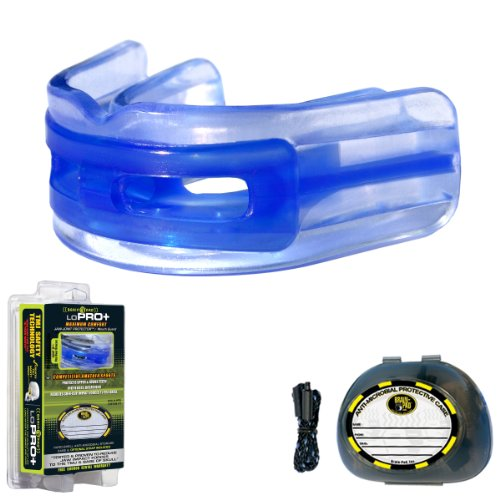 Brain-Pad LoPro+ Double Laminated Strap/Strapless Combo in one Adult Mouthguard (Blue/Clear)