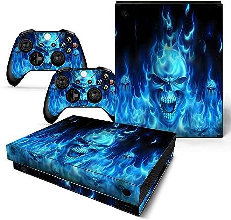 XBOX ONE X Skin Design Foils Pegatina Set - Blue Skull Motivo ...