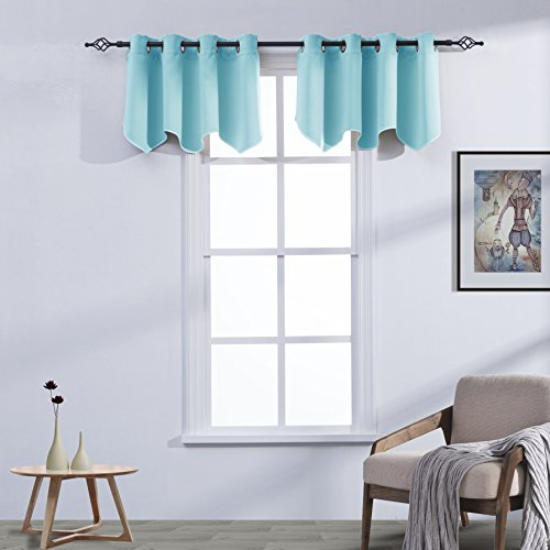 Cheap  Aquazolax Blackout Window Treatments Valance Grommets Top Scalloped Curtain Valance for Kitchen,..