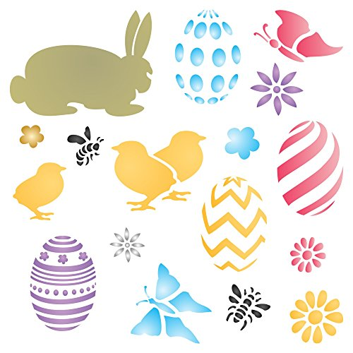 "EASTER BUNNY Stencil - (size 7""w x 7""h) - Easter Fabrics"