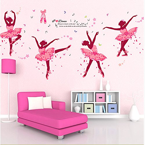 Brooke & Celine Home Decoration Fairy Wall Stickers Pink Ballet Girls Home Decor Removable Wallpapers for Kids ()