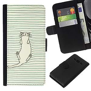 Planetar® Modelo colorido cuero carpeta tirón caso cubierta piel Holster Funda protección Para Samsung Galaxy A3 / SM-A300 ( White Cat Grey Green Pen Drawing Cute )
