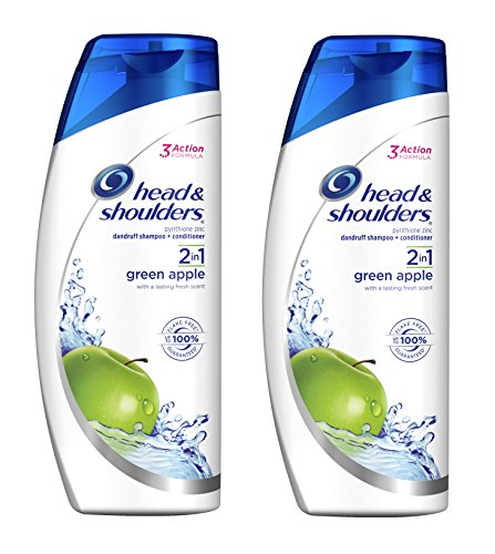 Head & Shoulders Anti-Dandruff 2-in-1 Shampoo & Conditioner, Green Apple, 13.5 Oz (2 BOTTLES)