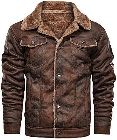ATHX Mens Vintage Leather Bomber Motorcycle Jacket Warm Coat