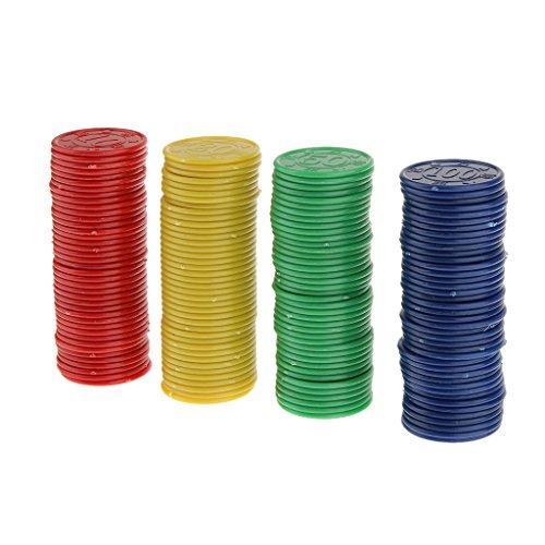 【ノーブランド品】 全4パタン プラスチック製 ポーカーチップ  パーティー おもちゃ 飾り 赤 緑 青 (黒あるいは黄)  - #1