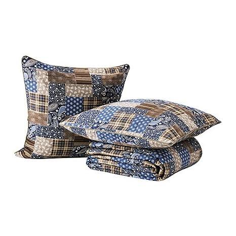 IKEA Fraken - Colcha y 2 fundas de cojines, azul, marrón ...