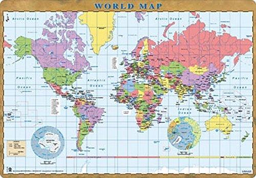 World Map Desk Mat Blotter, Desk Pad 14'' x 20'' , Laptop Mat for office and home, Educational School desk mat