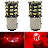 2-Pack 1157 BAY15D 1016 1034 7528 2057 2357 Extremely Bright Red Non-Polarity LED Light 9-30V-DC, 2835 33 SMD Replacement For Interior RV Camper Brake Light Lamps Tail BackUp Parking Bulbs