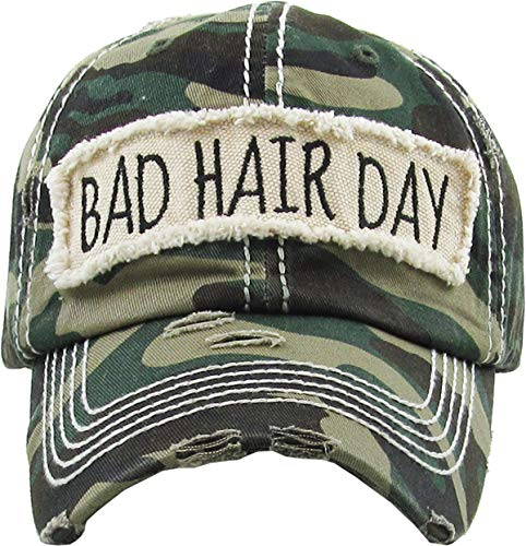 (MIRMARU Women's Baseball Cap Distressed Vintage Unconstructed Washed Cotton Embroidered Adjustable Hat (Bad Hair Day - Camo))