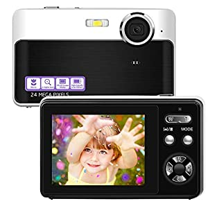 Best Epic Trends 51iAbd6AMvL._SS300_ 24MP Camera Digital Camera HD Mini Point and Shoot Camera 2.4 Inch TFT LCD Video Camera Vlogging Camera Compact and…